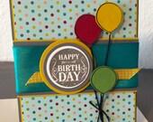 Birthday Balloons -- Handmade Gender Neutral Birthday Card