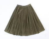 VINTAGE 1970s Gold Skirt Metallic Full Pleated