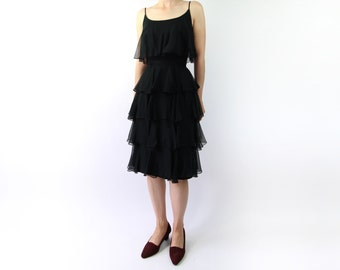 VINTAGE 1950s Dress Tiered Chiffon Party Dress
