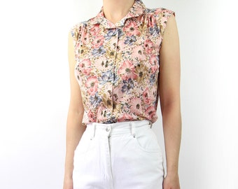 VINTAGE Floral Blouse Pink Sleeveless 1970s Top