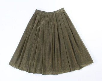 VINTAGE 1970s Gold Skirt Metallic Full Pleated