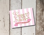 Digital Printable Sugar and Spice Baby Shower Thank You Cards