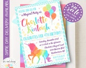Rainbow Unicorn Birthday Invitation, Unicorn Invitation, Unicorn Party Invitation, Girls Birthday, Girl First Birthday, Printable Invite
