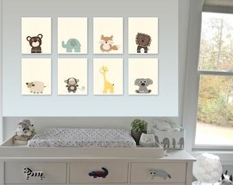 Gender Neutral Nursery Decor, Baby Animal Prints, Safari Nursery Print Set, Safari Nursery Art, Levtex Baby Zambezi, baby safari animals art