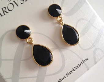 Black Gems with Gold Trim Earrings