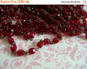 sale HANDMADE Vintage style Linked Beaded Chain with Czech 6mm Siam red glass beads
