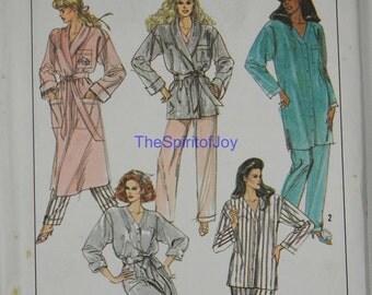 Size Medium 14 16 SImplicity 8874 Pajamas Top Bottoms Pants Robe Pjs Button UP Bath House  Vintage 1980s Womens Misses Uncut Sewing Pattern