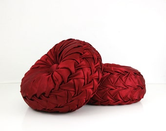 Vintage Smocked Pillows- Set of 2 / Cranberry Red Satin Throw Pillows