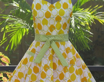 Sweetheart Hostess Apron-Lemons-Full of Twirl Flounce - Lemon Meringue Pie