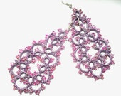 Tatted earrings with glass beads, purple earrings