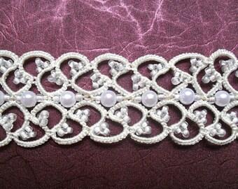 Ivory choker necklace, ivory choker necklace with white beads, tatted choker necklace , tatting jewelry, needletatting