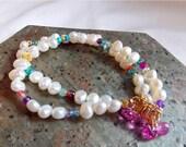 VALENTINES DAY SALE Freshwater Pearl Colorful Gemstone Multistrand Bracelet Earring Set Pink Topaz Charms Confetti Bracelet Bridal Jewelry