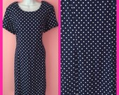 Vintage 1980s Navy Blue and White Polka Dots Baby doll Dress