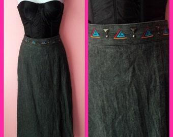 Vintage Acid Wash High Waisted Western Themed 80s Skirt