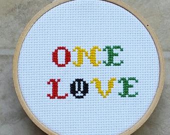 "One Love Rasta Inspired 3"" Cross Stitch in Wooden Hoop Bob Marley Reggae Rasta One Love Framed Needlepoint with Throw Pillow Option"