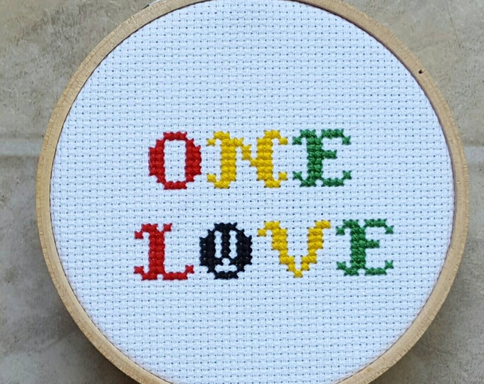 "One Love Rasta Inspired 3"" Cross Stitch in Wooden Hoop Bob Marley Reggae Rasta One Love Framed Needlepoint with Throw Pillow Option"