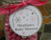 "Thank You SNOW Much Custom Baby Shower Favor Tags - For Cake Pops - Lollipops - Party Favors - (60) 1.5"" Printed Personalized Tags"