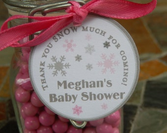 """Thank You SNOW Much Custom Baby Shower Favor Tags - For Cake Pops - Lollipops - Party Favors - (60) 1.5"""" Printed Personalized Tags"""