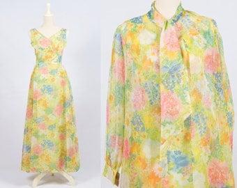 Vintage 1970s Floral Print Maxi Dress w/ Duster * Green Pink Blue Orange Yellow * Boho Ascot Bow Blouse *