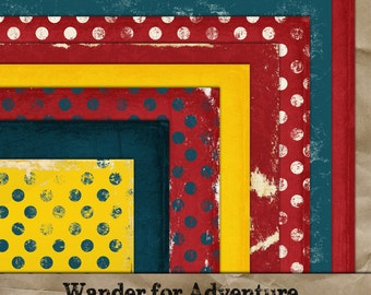 Wander for Adventure digital paper 8 pack. Commercial Use okay. Scrapbook invitations supplies navy yellow red worn textured kit
