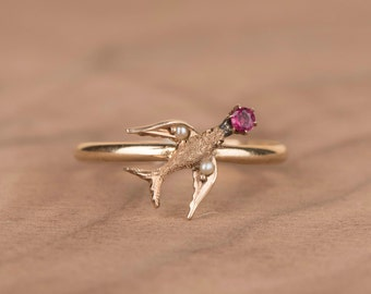 Victorian Swallow Bird with Pink Spinel 14k Solid Yellow Gold Conversion Ring