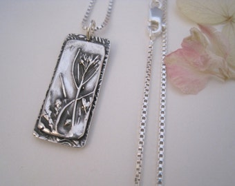 Silver Rectangle Wildflower Necklace