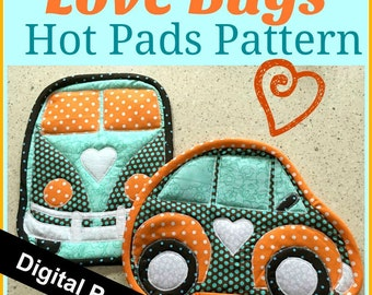 pattern, quilting, hot pads, vw, car, bug, digital pattern, fabric, sewing, kitchen