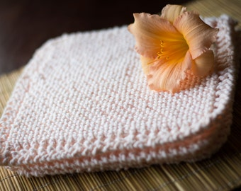 Light Pink Cotton Hand Knit Dishcloth