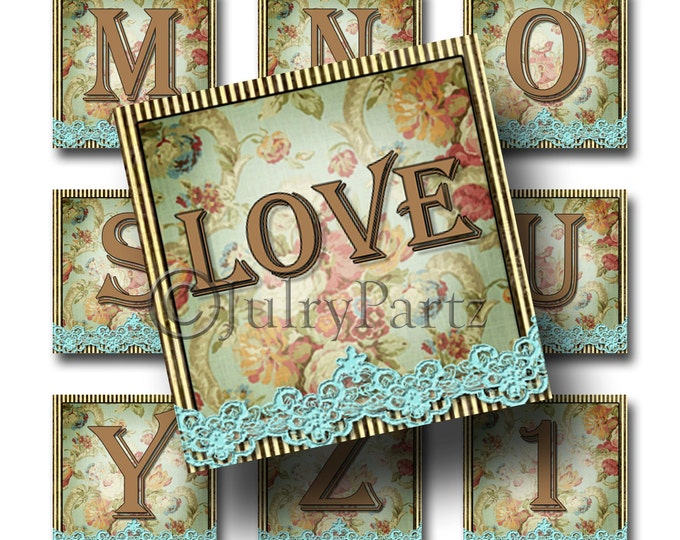 SHABBY LACE, 1x1 square images, Printable Digital Images, Cards, Gift Tags, Stickers, Scrabble Tiles, Magnets