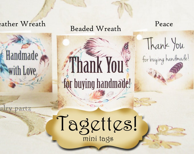 45•TAGETTES•Boho Feathers•Mini Tags•Hang tags•Gift Tags•Favor Tags•Paper Tags•Price Tags•Clothing Tags