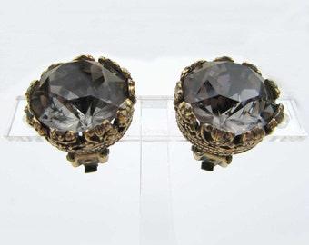 Smoky Blue Glass European Earrings - deep goldtone setting - clip earrings -1950s