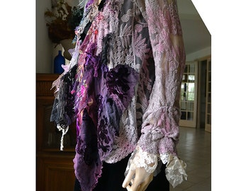 RESERVED Beautiful Unique Art To Wear  Hand Dyed Lacy Jacket LILAC TIME Fairy Silk Velvet Twenties Style Gipsy Antoinette Tattered