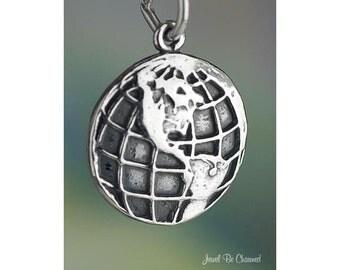 Sterling Silver World Earth Globe Charm Western Hemisphere Solid .925