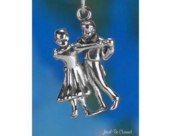 Dancing Couple Charm Sterling Silver 3D Man and Woman Dancers .925