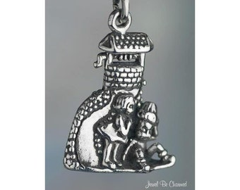 Sterling Silver Jack and Jill Charm Nursery Rhyme Children Solid .925