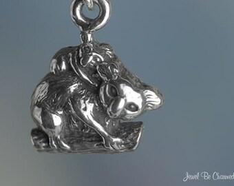Sterling Silver Miniature Koala Charm Koalas Very Small Tiny Solid 925