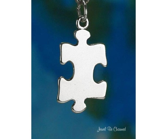 Jigsaw Puzzle Piece Charm Sterling Silver Autism Awareness Solid .925