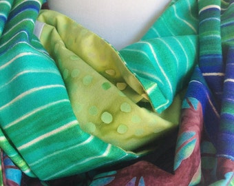 Oversize Infinity Scarf, Reversible Cowl, Cotton Cowl, Batik Scarf, Urban Fashion Blue Green White Purple