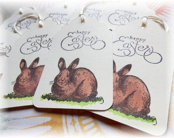 Brown Bunny Tags - Easter Bunny - Basket - Gift/ Hang  Tags (8)