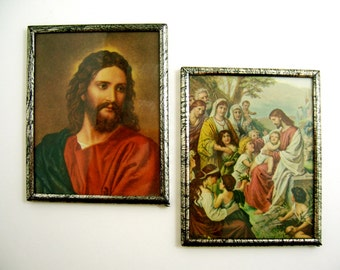Jesus set of Christian religious fine art lithograph pair antique vintage small metal-framed prints, Head of Christ Blessing Little Children