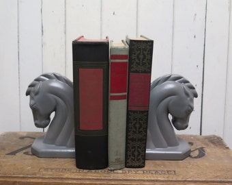 Pair Horse Bookends Vintage painted Gray