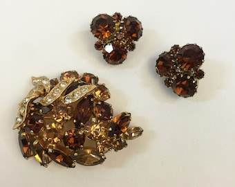 Weiss 1950s Brooch and Earrings Set
