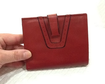 Vintage AMITY Red Leather Wallet With Black Detailing