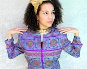 90s Adrianna Papell Silk Blazer - Vintage 90s Fitted Jacket w Gorgeous Oriental Aztec Geometric Print in Jewel Tones - Size 12 Large L