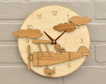 Airplane Nursery Clock Wood Kids Airplane Decor