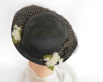 1930s tilt hat, vintage navy with tulle, white flowers