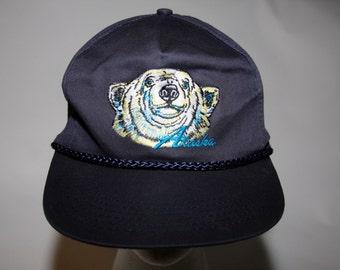 Vintage Early 90s Alaska Souvenir Snapback Hat w Arctic Polar Bear Unworn