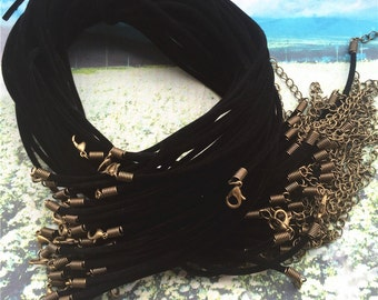 good quality--50pcs 16-18 inch adjustable 2mm black velvet necklace cords with Bronze lobster clasps and 2 inch extender