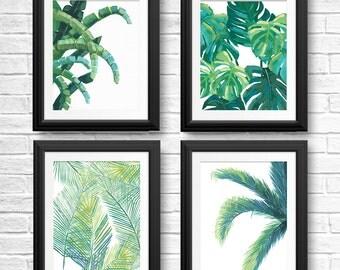 Tropical Leaf Prints, Banana Leaf, Palm Tree, Tropical Fern, Beach House Decor, Jungle Wall Art, Tropical Botanicals, Green Leaf Painting