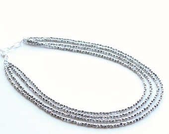 Bridal necklace, Silver Layered Necklace, multi strand Necklace, multi layered necklace, beaded necklace, statement necklace,silver necklace